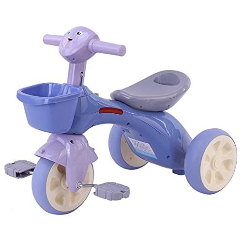Ckssyao Triciclo de Pedal de Monopatín de 3 Ruedas para Exteriores, Bicicleta de 1 a 6 Años, Juguetes para Montar en Coche con Luz y Música,Púrpura,61 * 38 * 46cm