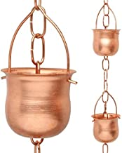 Marrgon Copper Rain Chain – Decorative Chimes & Cups Replace Gutter Downspout & Divert Water Away from Home for Stunning Fountain Display – 3' Long for Universal Fit – Pot Style…
