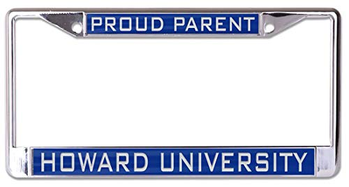 WinCraft Howard University Proud Parent Premium License Plate Frame, 2 Hole, Metal with Inlaid Acrylic