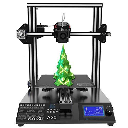 Impresora 3D GEEETECH A20 Prusa I3, fácil montaje y alta precisión de impresión, tablero de control de código abierto, tamaño 250 x 250 x 250 mm