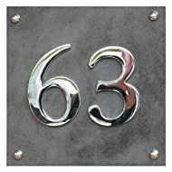 Large Slate Chrome house number