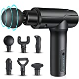 Muscle Massage Gun, KZED Percussion Massage for Athletes Deep Tissue Massager Impact Device, Handheld Portable Fascia Massager for Pain Relief - 6 Adjustable Speed and 6 Heads