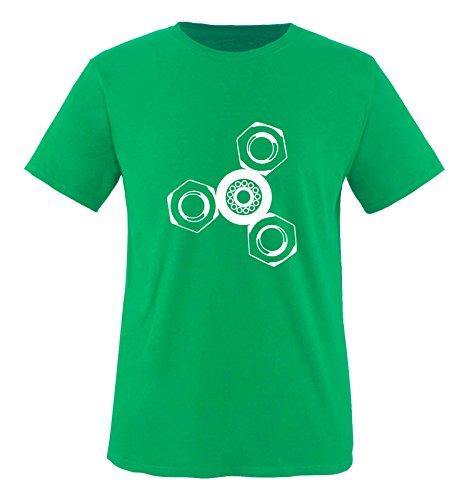 Comedy Shirts Fidget Spinner T-shirt à col rond 100 % coton pour garçon - Vert - 134