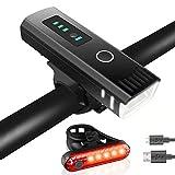 Tatopa Fahrradlicht Led Fahrradbeleuchtung Set | Fahrradlampe USB Wiederaufladbare Frontlicht und Rücklicht | Wasserdicht Fahrrad Licht StVZO Zugelassen Fahrradlichter
