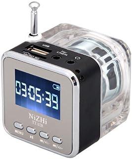 Mini Digital NiZHi TT-028 MP3 - Reproductor de música portátil Micro SD USB Radio FM, negro y plateado