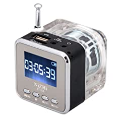 Supports micro SD/TF card, USB flash disk, FM radio, etc. With telescopic antenna and earphone output fuction. Supports LINE IN function, receiving audio source from MP3, MP4, PC, Notebook, iPod, iPhone, etc. Build-in high sensitivity FM radio freque...
