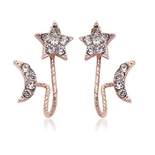 YZYZ Pendientes para mujer con estrás, diseño de estrella de cinco puntas, amor, luna, oreja, hueso, clip, regalo