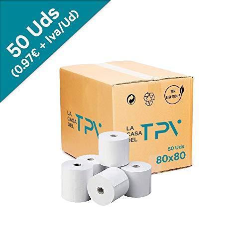 Caja de 50 rollo de papel térmico 80 x 80 mm. +/- 80 m. Excelente calidad de papel.Sin biefenol-A, compatible con todas las impresoras térmicas. Unidad 0.97 + IVA