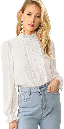 Verdusa Women s Elegant Ruffle Trim Long Sleeve Buttoned Front Jacquard Blouse White M product image
