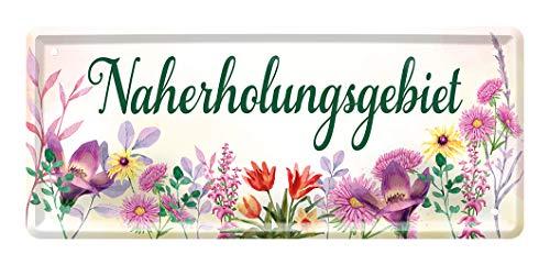 Blechschild Naherholungsgebiet - Schild für Garten Balkon Terrasse Gartenlaube Loggia Gewächshaus Gartenhaus - Hinweis auf Lieblingsplatz oder Erholungsplatz - Türschild Wandschild - 28x12cm