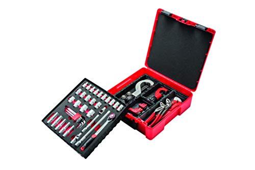 Rothenberger 1000002198 Rocase Werkzeug-Set Rohrbeartbeitung mit Einhand-Rohrzange, 6-Kant-Steckschlüsselset, Rot