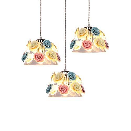 BJClight Classic Glas Pendelleuchte für Küche Schlafzimmer, E27 Hängelampe mit Keramik Bunte Blumendekoration Kreative, Kronleuchter Leuchte-1 Licht