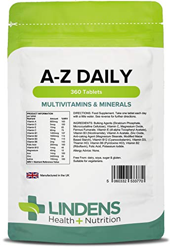 Lindens Multivitamin A-Z Daily Tablets | 360 Pack | Perfect Vitamin & Mineral Balance of Vitamin A, C, D, E, B1, B2, B3, B6, B12, Folic Acid, Magnesium, Iron, Zinc & Iodine