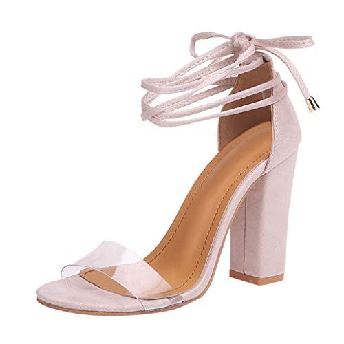 Minetom Sandalias Mujeres Verano Peep Toe Zapatos De Playa Moda Casual Tacones Altos Tacón Ancho Transparente Cordones Fiesta Elegante Shoes