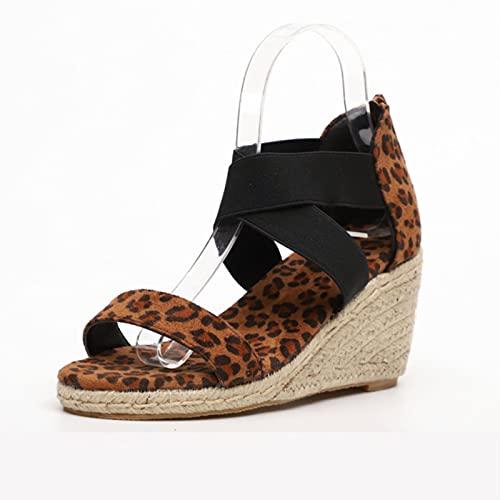 DaVanck Sandalias de Moda Mujer 2021 Verano de Suela Gruesa Cómodas Sandalias de Mujer de Todo fósforo Casual Pendiente Sandalias de tacón Alto Mujer Leopardo Amarillo