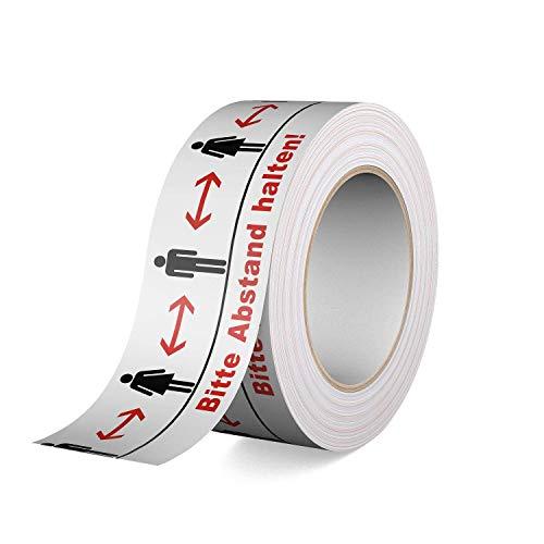 Warnband - Bodenklebeband - Bitte Abstand halten! 66m Rolle, 50mm breit