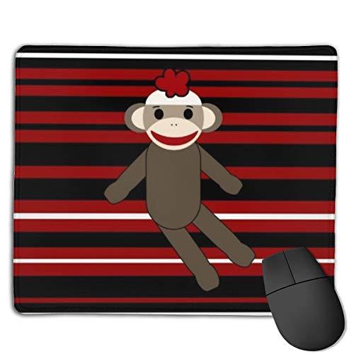 Jujupasg-Mauspad, Rutschfestes, Wasserdichtes Mousepad Auf Gummibasis Für Laptops -Rotes schwarzes weißes gestreiftes Socken Affe Mädchen Sitzen