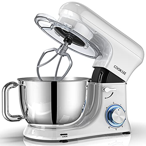 COOKLEE Stand Mixer, All-Metal Series 6.5 Qt. Kitchen Electric Mixer with Dishwasher-Safe Dough Hooks, Flat Beaters, Whisk & Pouring Shield Attachments for Most Home Cooks, SM-1515, Porcelain White