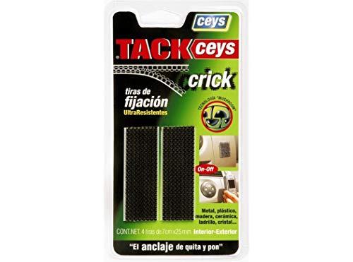 CEYS 507623 Tackceys crick 4 tiras 5 cm negro, Azul, 0