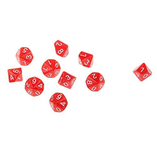 10pcs Dés Multi-faces Polyèdre Dices Dix Faces D10 D & D RPG Jouet Cadeau Amateur (Divers) - Rouge
