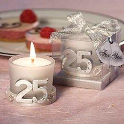 Lote de 20 Velas 25º Aniversario - Detalles y recuerdos aniversario bodas de plata