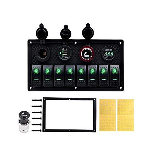 TONGDAUR - Interruptor basculante de 8 bandas, voltímetro protegido contra sobrecarga, 12 V, 24 V CC, puerto de cargador USB para RV coche barco (color: verde, tamaño: libre)