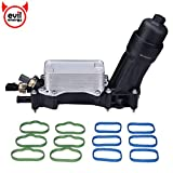 EVIL ENERGY Engine Oil Cooler and Filter Housing Adapter gaskets Sensor Kit Replaces 68105583AF Compatible with 2014-2017 Chrysler 200/300 Dodge Journey Jeep Wrangler Ram 3.6L Aluminium Silver