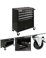 Arebos Carro herramientas de 4 compartimentos + compartimento grande / 2 ruedas con freno de estacionamiento / cajas de herramientas
