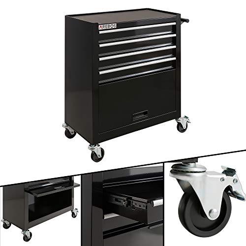 Arebos Carro herramientas de 4 compartimentos + compartimento grande / 2 ruedas...