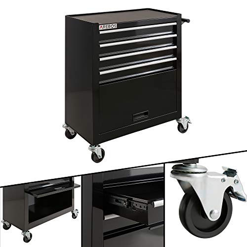 Arebos Carro herramientas de 4 compartimentos + compartimento grande / 2 ruedas con freno de estacionamiento / caja herramientas / cajas de herramientas
