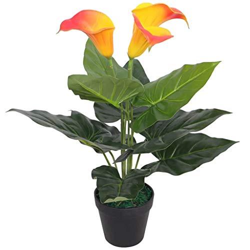 vidaXL Künstliche Calla-Lilie mit Topf Künstliche Pflanze 45 cm Rot und Gelb