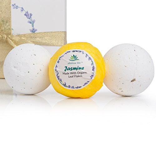 Jasmine Bath Bombs Gift Set For Women, Mom, Girls, Teens, Her, 6 Large Lush Natural Organic Fizzies With Essential Oils Helps Moisturize Dry Skin, Relaxing Bubble Spa Bath Birthday Gift Idea For Her.