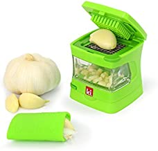 Kitchen Innovations Garlic-A-Peel Garlic Press, Crusher, Cutter, Mincer, and Storage Container - Includes Silicone Garlic Peeler - Easy to Clean - Stainless Steel Blades – (Green)