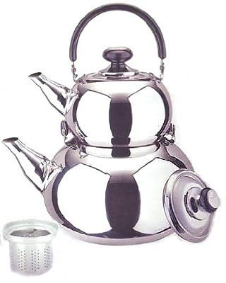 18/10 Stainless Steel Turkish Samovar Style Double Tea Kettle & Pot