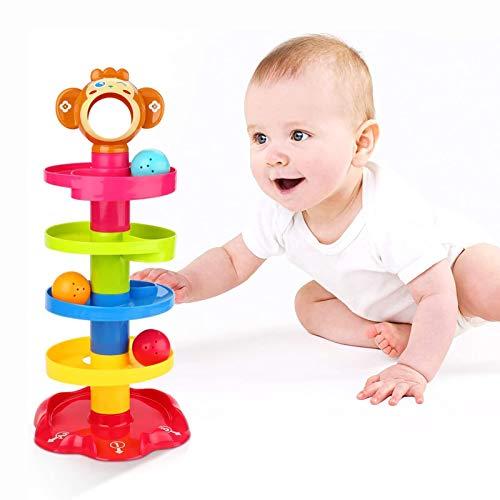 YGJT Baby Spielzeug ab 6 Monate Kugelbahn | Motorikspielzeug ab 1 Jahr mit 5 Schichte Ball Drop | Pädagogische Lernspielzeug für Jungen und Mädchen als Geburztag Geschenk