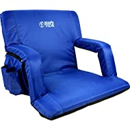 Brawntide Stadium Seat with Back Support - Extra Wide, Comfy Cushion, Reclining Back, Bleacher Strap, 4 Pockets, Ideal Stadium Chair for Sport Events, Beaches, Camping, Concerts