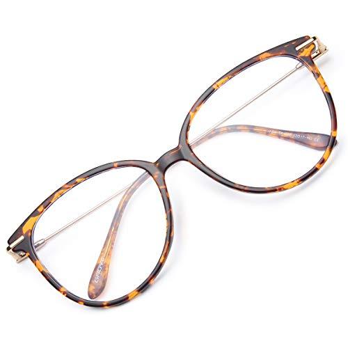 Gaoye Blue Light Blocking Glasses Women/Men, Fashion Cat Eye Fake Eyeglasses Frames UV Ray Filter Computer Gaming Glasses (Leopard Frame/Transparent Lens)