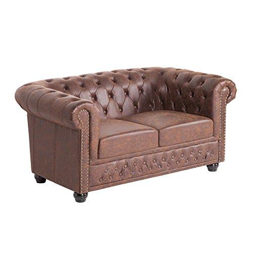 Chesterfield 2er Sofa 150cm Vintage Braun Mit Knopfheftung Und Federkern Zweisitzer Couch