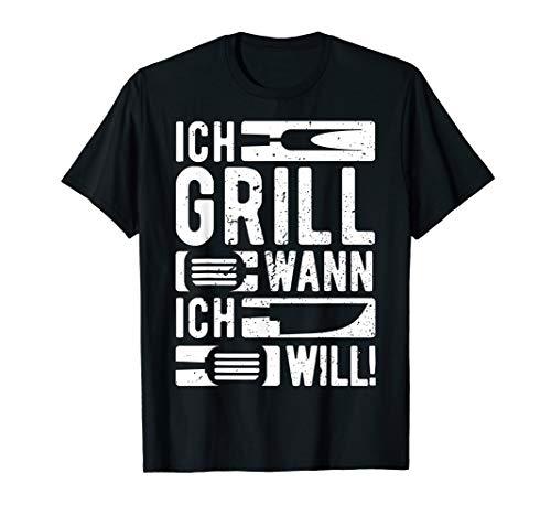 Herren Ich Grill Wann Ich Will | Lustiges Griller BBQ Spruch Retro T-Shirt