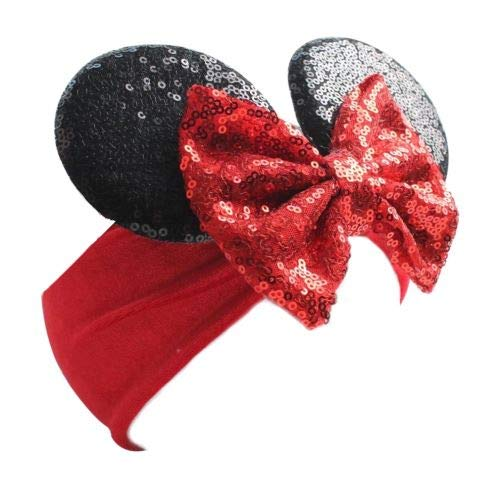 Baby Minnie Mouse Ears Sequin and Velvet wide Headband with bow