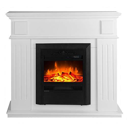 GLOW FIRE Helios Elektrokamin mit Heizung, Wandkamin und Standkamin mit LED | Künstliches Feuer mit zuschaltbarem Heizlüfter: 750/1500 W | Fernbedienung, Dimmer, Kaminsims, Weiß