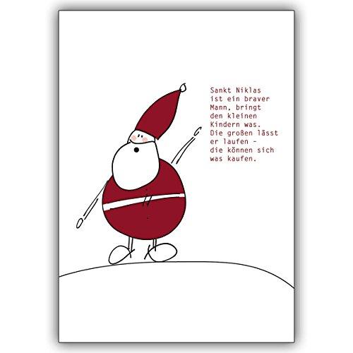 1 Weihnachtskarte: Lustige Nikolaus Glückwunsch/Grußkarte für große Kinder. • als festliche Weihnachts Klappkarte zum Jahres-Ende für Familie und Firma