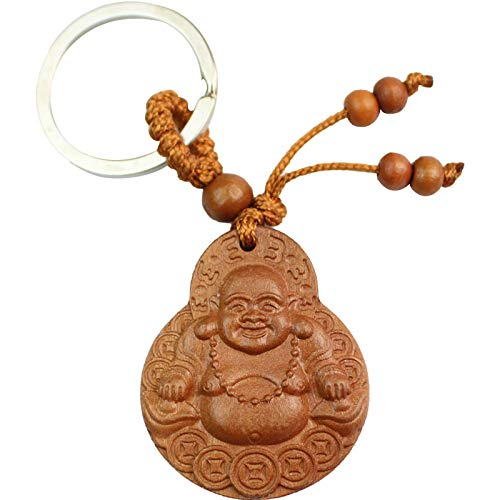 Hand Carved Wooden Elephant Key Ring,Keychain, Key Holder Keychain (Smile Buddha)