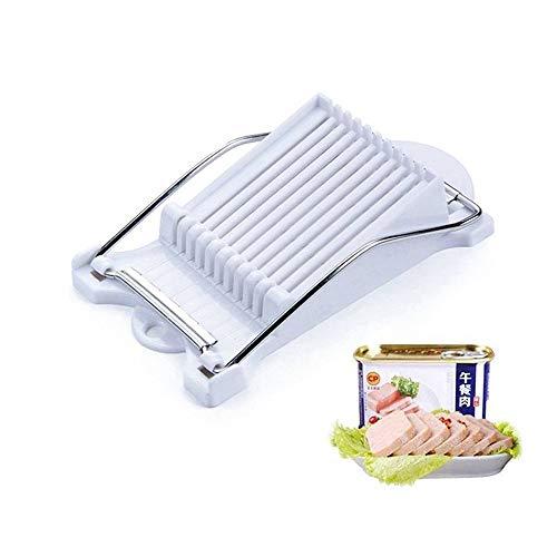Multifunktionaler Edelstahl-Fleischschneider Spam-Schneider Eierschneider, Lunch-Küchenwerkzeug, leicht zu reinigen, weiche Lebensmittel Schneider für Fleisch, gekochte Eier, Käse, Schinken etc. Weiß