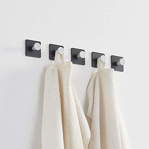5pcs aleación de aluminio en blanco y negro en blanco y negro gancho de toalla de pared simple y de moda simple y elegante combina con el estilo moderno