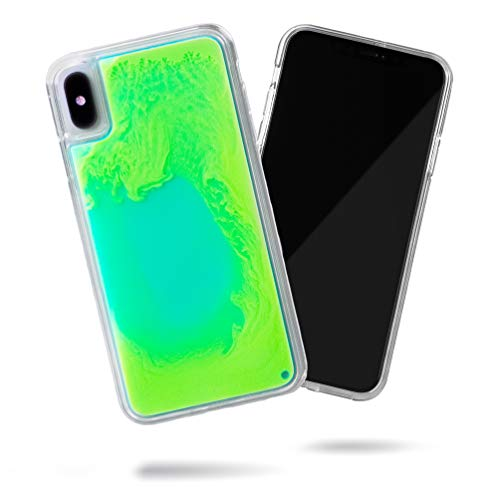 Steeplab Flowing Neon Sand Liquid iPhone Xs Max case - Full Body Protection with Raised Bezel - Mint and Neon Green Glow