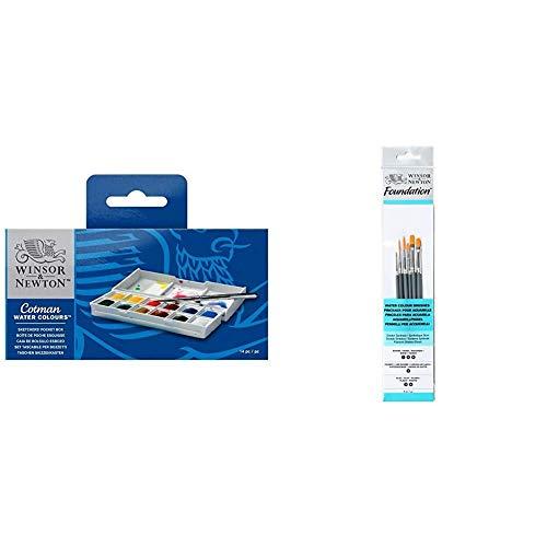 Winsor & Newton Sketcher Cotman Caja plástica de acuarela, 12 medio Godet + Pinceles de Acuarela, Madera, Multicolor, 7 x 1 x 4.3 cm, 6 Unidades