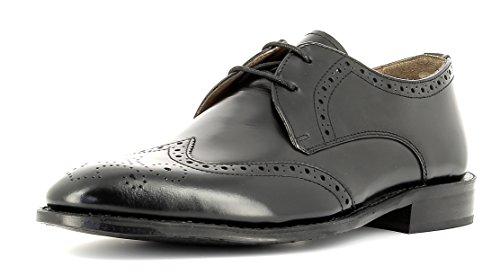Gordon & Bros Herrenschuhe Mirco A500409 Klassischer rahmengenähter Schnürhalbschuh mit Derbyschnürung im Brogue Stil für Anzug, Business und Freizeit schwarz (Black), EU 42