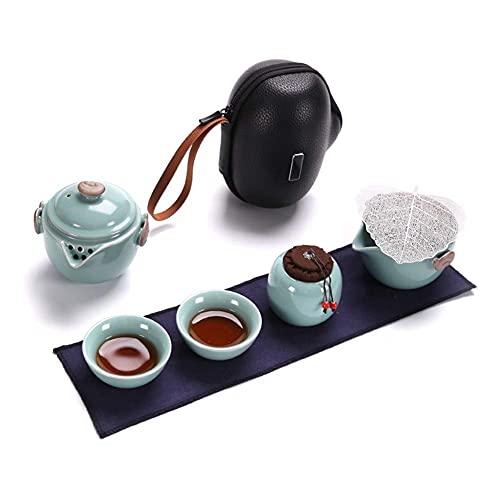 Bule de chá japonês, conjunto de chá de viagem, conjunto portátil de chá Kungfu, conjunto de bule de chá de porcelana chinês/feita à mão, 2 xícaras de chá para escritório ou casa que trabalham diariamente, conjunto de chá