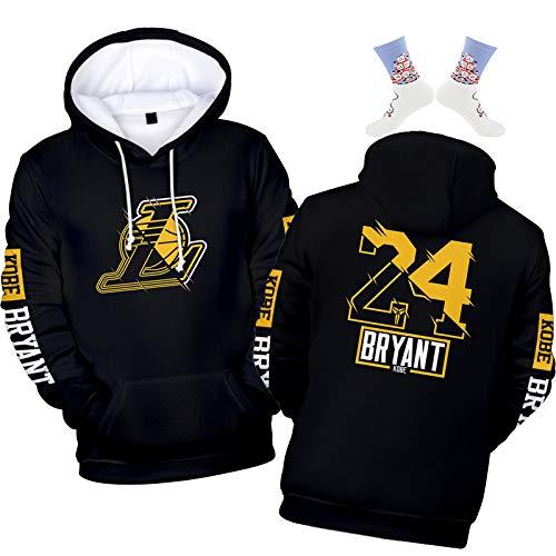 Kobe Bryant 2020 Sudadera con capucha para hombre, Lakers # 24, sudadera deportiva + calcetines navideños (XS a XXXXL)